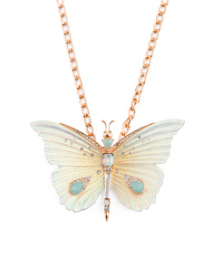 Rose Gold Tone Butterfly Pendant Necklace