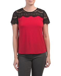 Short Sleeve Lace Trim Top