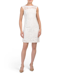 Petite Lace Sheath Dress With Pearls
