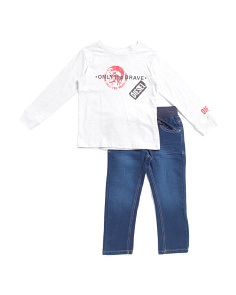 Toddler Boys 2pc Logo Tee And Denim Pant Set