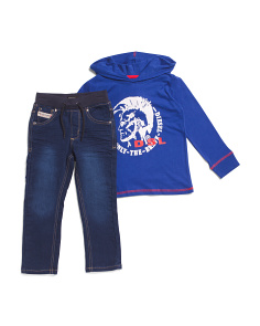 Little Boys 2pc Logo Tee And Denim Pant Set