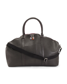 Made In Italy Leather Duffel With Murano Glass Zipper Pulls