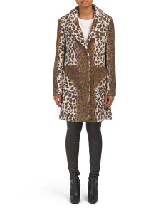 Notch Collar Leopard Cozy Jacket