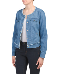 Denim Jacket With Frayed Details