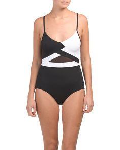Hot Mesh V-neck One-piece Swimsuit