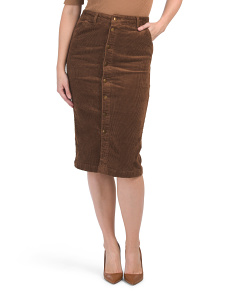 High Waist Button Front Corduroy Skirt
