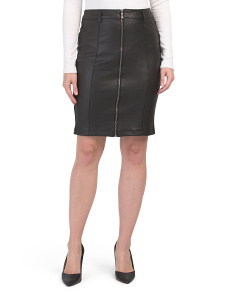 High Waist Coated Ponte Front Zip Skirt