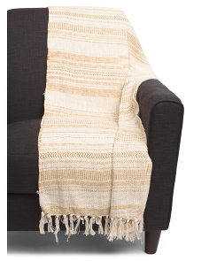 Cotton Slub Yarn Printed Throw With Fringe