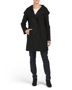 Asymmetrical Hooded Wool Blend Coat