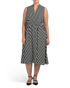 Plus Bias Stripe Midi Dress