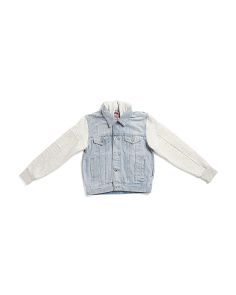 Big Boys Denim Jacket With Moto Sleeves