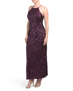 Long All Over Patterned Sequin Gown