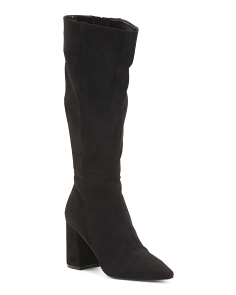 Knee High Block Heel Pointy Toe Boots