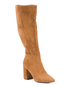 Knee High Stacked Heel Pointy Toe Boots