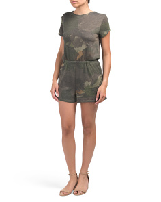 Cross Back Jersey Camo Romper