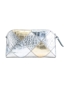 Crocco Embossed Leather Clutch