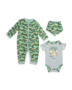 Newborn Boys 3pc Creeper Coveralls Set With Bib