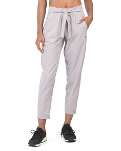 Tie Front Stretch Woven Pants
