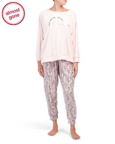 Plus Animal Velvet Fleece Pj Set