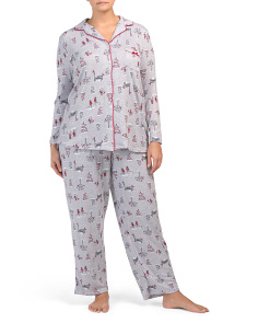 Plus 2pc Snowy Winter Hacci Pj Set