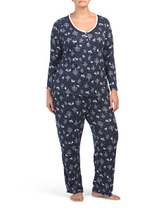 Plus Holiday Forest Henley Top Hacci Pj Set
