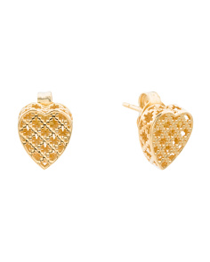 Made In Italy 18k Gold Diamantissima Heart Stud Earrings