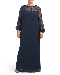 Plus All Over Lace Gown With Sheer Details