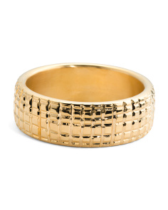 Made In Italy 14k Gold Electroform Textured Bangle Bracelet