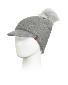 Fleece Lined Brimmed Hat With Pom