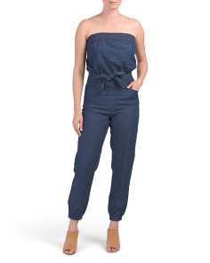 Juniors Tube Tie Waist Jumpsuit