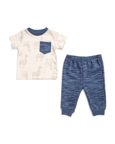 Newborn Boys 2pc Llama Tee And Jogger Set