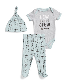 Newborn Boys 3pc New To The Crew Footed Set