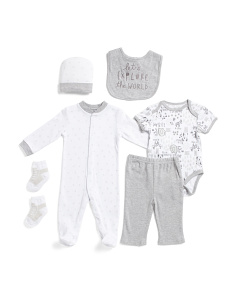 Newborn Boys 6pc Footed Explorer Set