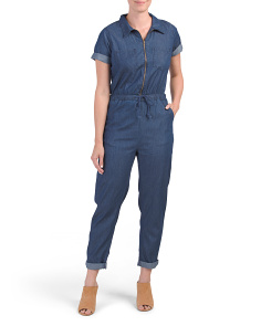 Juniors Short Sleeve Zip Utility Jumpsuit