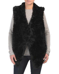 Knitted Faux Fur Draped Front Vest