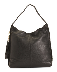 Leather Large Hobo With Tassel Accents