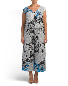 Plus Botanical Print Jumpsuit