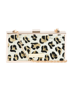Jane Leopard Sequin Minaudiere Clutch