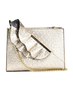 June Ostrich Crossbody Clutch