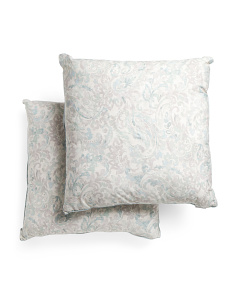 2pk Distressed Paisley Euro Pillows