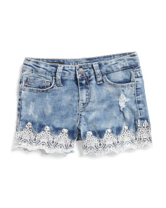 Little Girls Dainty Lace Denim Shorts