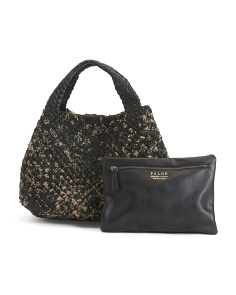 Made In Italy Boucle Nappa Tote With Leather Trim