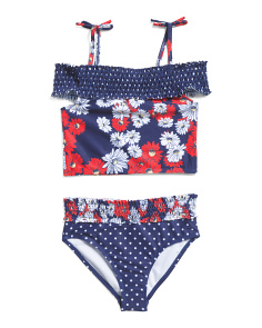 Big Girls Two-piece Nautical Cold Shoulder Swimsuit