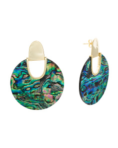 Sterling Silver Abalone Cut Out 40mm Disk Earrings