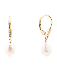 Sterling Silver Pearl And Cz Drop Earrings