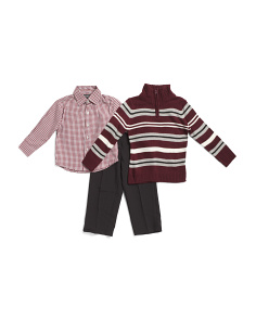 Little Boys 3pc Quarter Zip Sweater Set