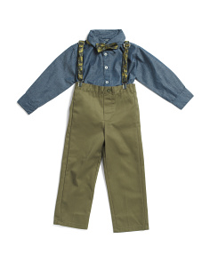 Little Boys 4pc Chambray Top Twill Suspender Set