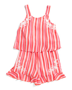 Big Girls Striped Popover Romper