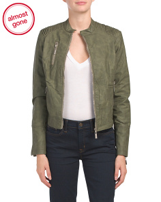 Juniors Army Faux Leather Jacket