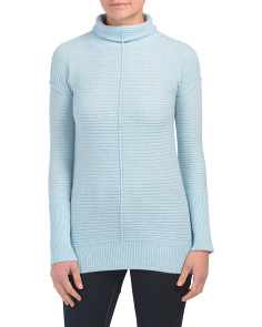 Cashmere Horizontal Rib Funnel Neck Tunic